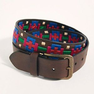 Free People Leather embroidered belt NWOT